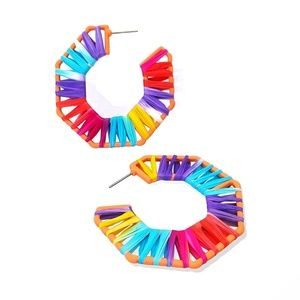 RAFFIA Octagon Hoop Earrings Multi Color Vacay